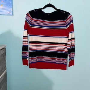NWOT Talbots Red/White/Blue Striped Long Sleeve